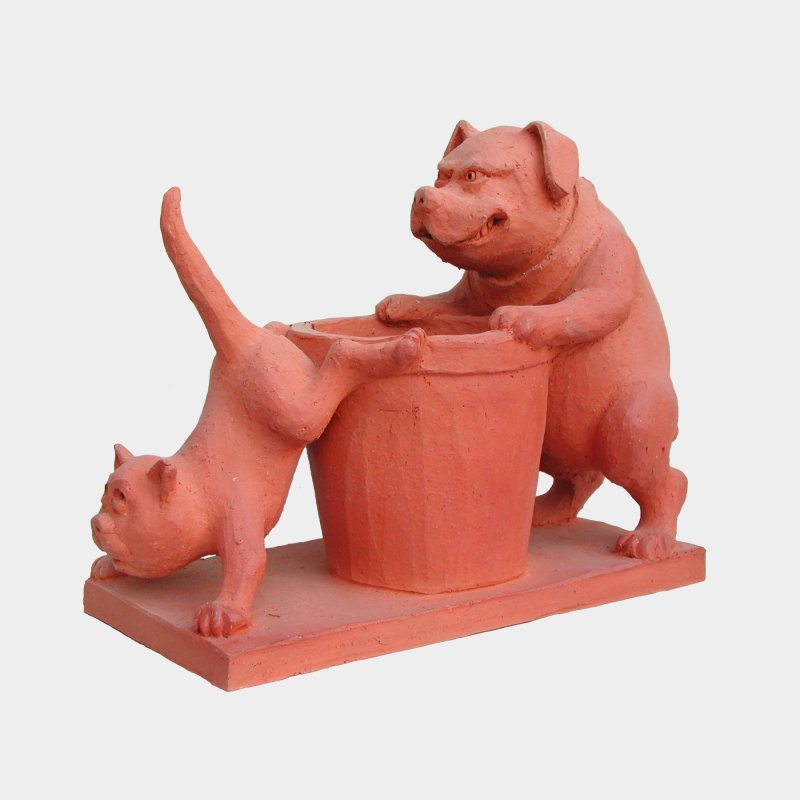 sculpture Terracotta Dog defending his trash